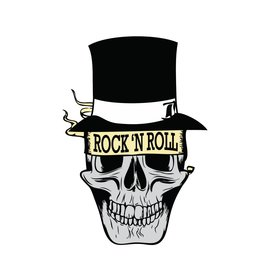 Old-school Rock 'N Roll skull with had
