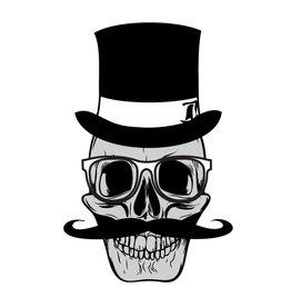 Old-school hipster skull