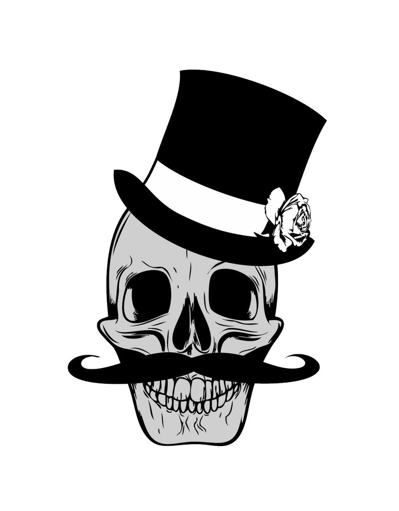 Old-school skull & moustache