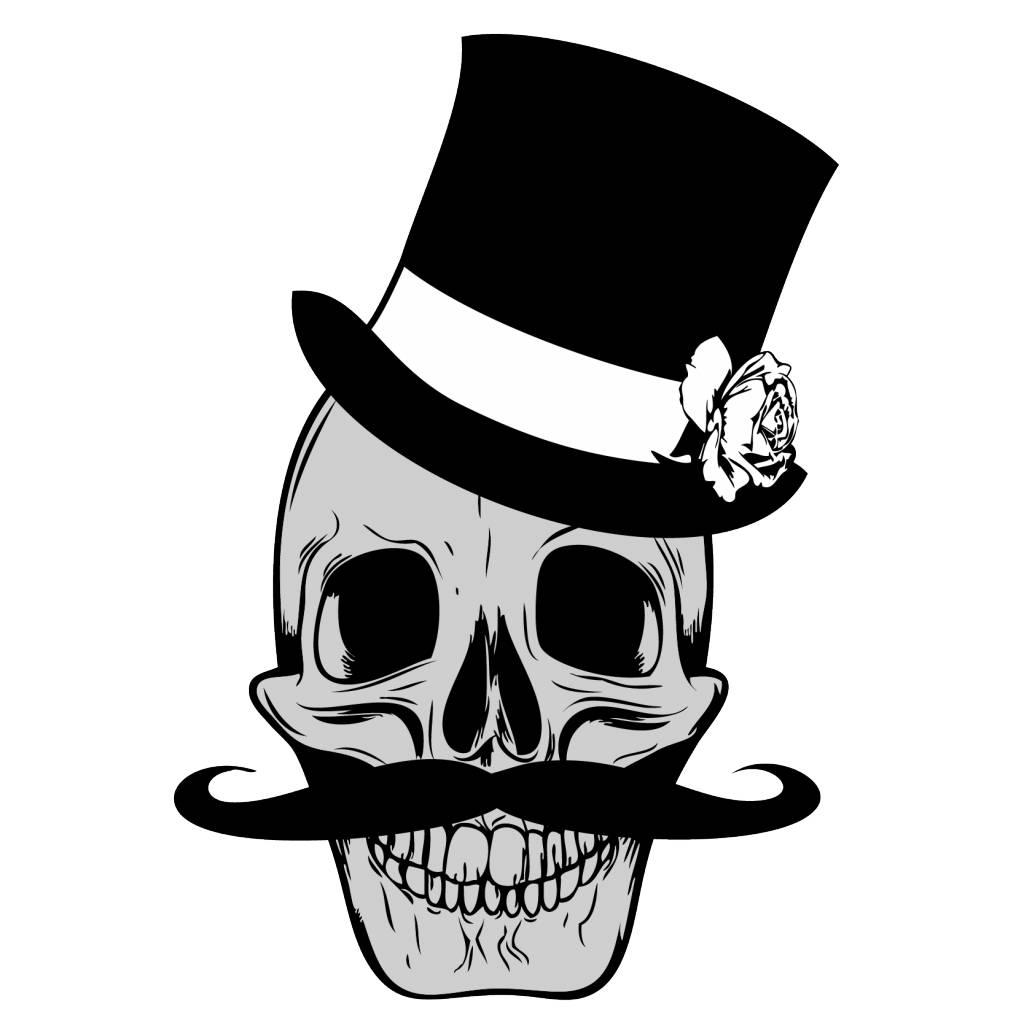 Old-school skull & moustache