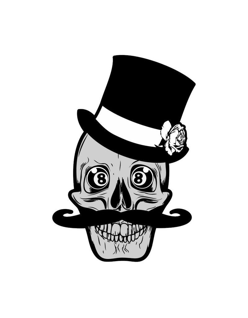 Old-school skull & moustache & 8balls