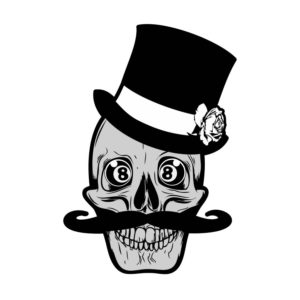Old-school skull & moustache & 8balls
