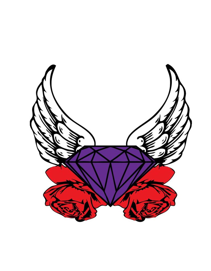 Old-school diamond & wings & rose