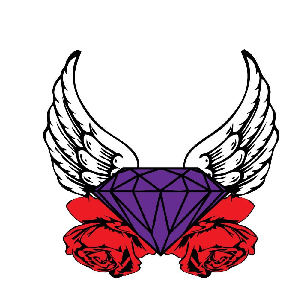 Old-school diamond & wings & rose