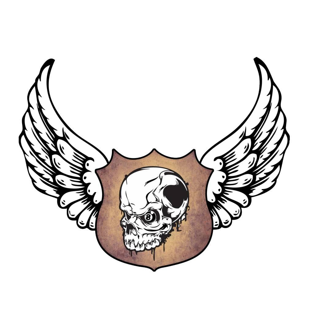 Old-school emblem skull