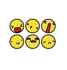 Smiley zwarte rand Stickervel