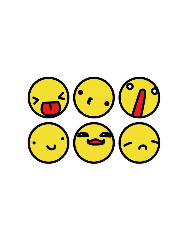 Smiley schwarzer Rand Stickerbogen