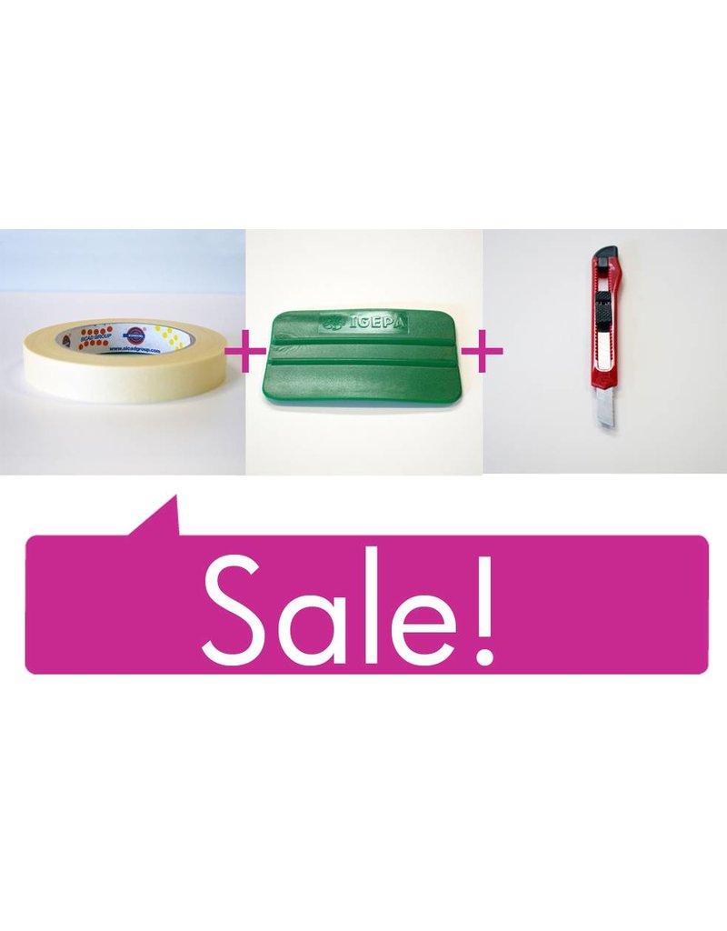 Kit precio: Cinta de pintores - Espátula - Cúter