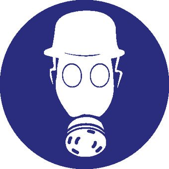 Pegatina casco de securidad y protección respiratoria obligatorio