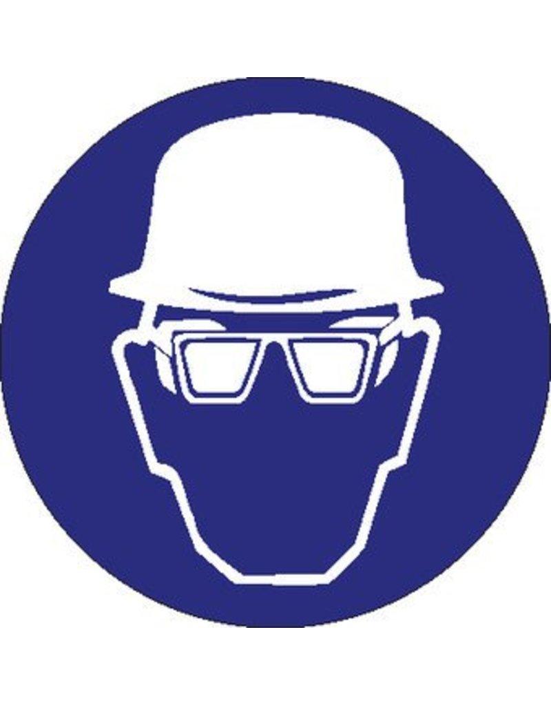 Safety helmet and eye protection mandatory sticker