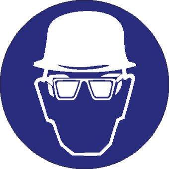 Autocollant casque de sécurité et protection des yeux obligatoire