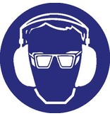 Eye- and hearing protection mandatory sticker