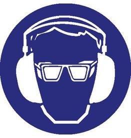 Pegatina protección del oído y ojos obligatorio