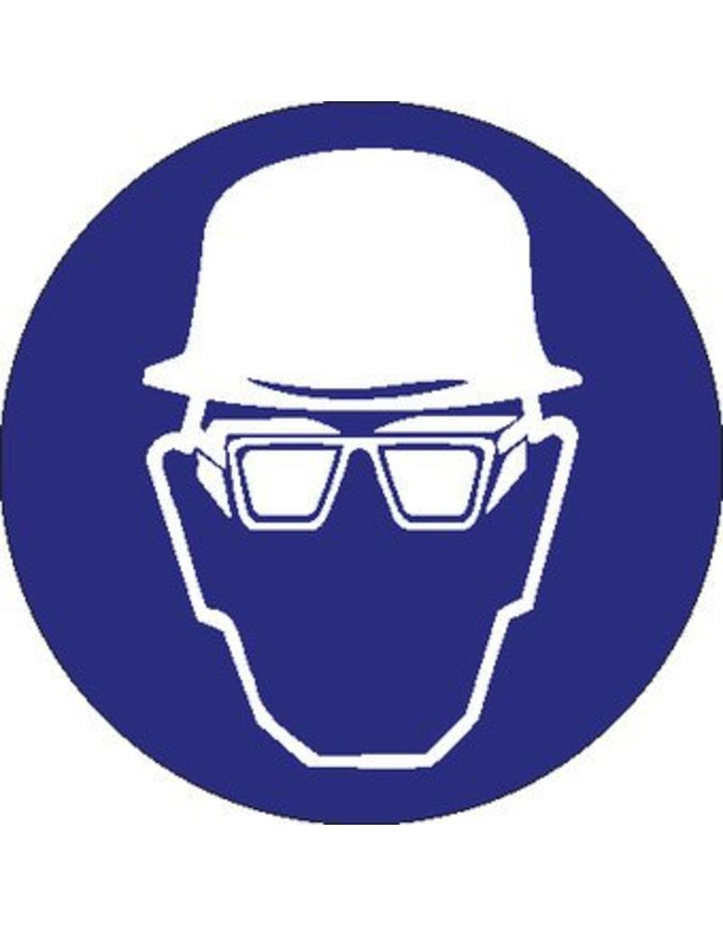 Pegatina usar casco de securidad y gafas de protección laterales obligatorio