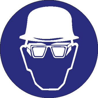 Wearing a helmet and goggles with sidepannels mandatory sticker