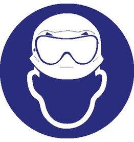 Pegatina usar casco de securidad y gafas de protección ácido obligatorio