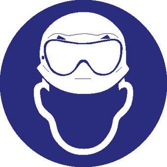 Wearing a helmet and acid goggles mandatory sticker