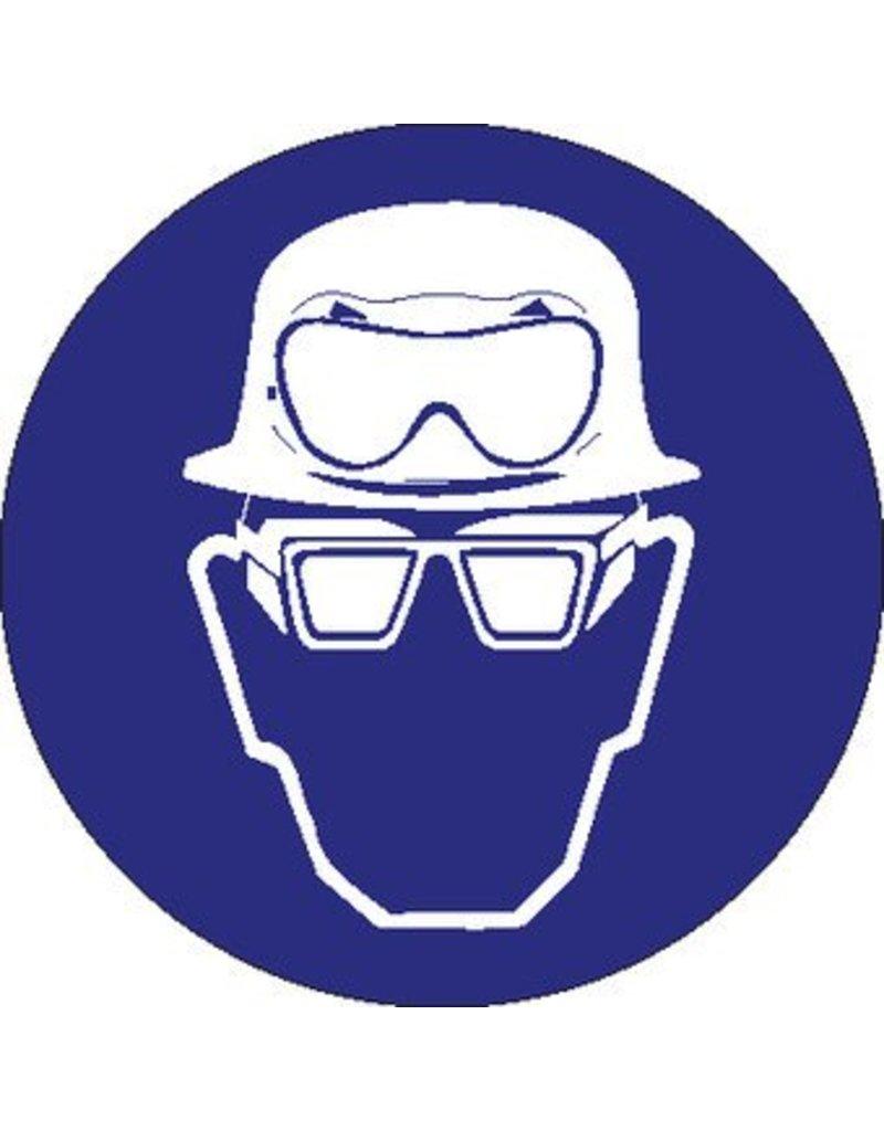 Helm, zuurbril en bril met zijschilden verplicht Sticker