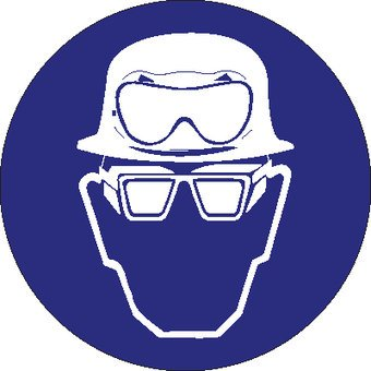 Helmet, acid goggles and goggles with sidepannels mandatory sticker