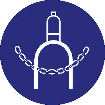 Gas cylinder provided with chain mandatory sticker