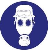 Pegatina casco, máscara de gas y gafas de seguridad fuego obligatorio