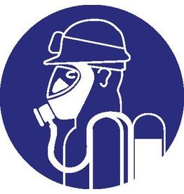 Pegatina protección respiratoria duro con gafas de protección acide obligatorio