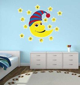 Pegatina habitación infantil - Estrellas y Luna