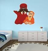 Kinderzimmer Sticker - Walross & Affe