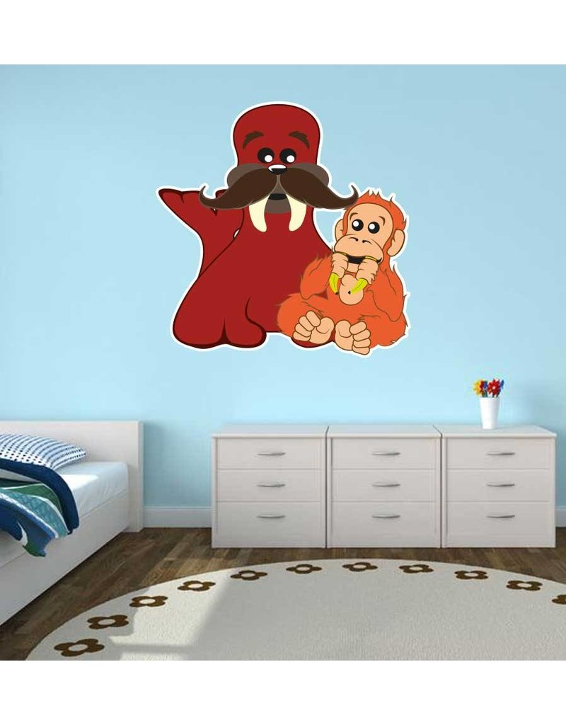 Kinderkamer Sticker - Walrus & Aap