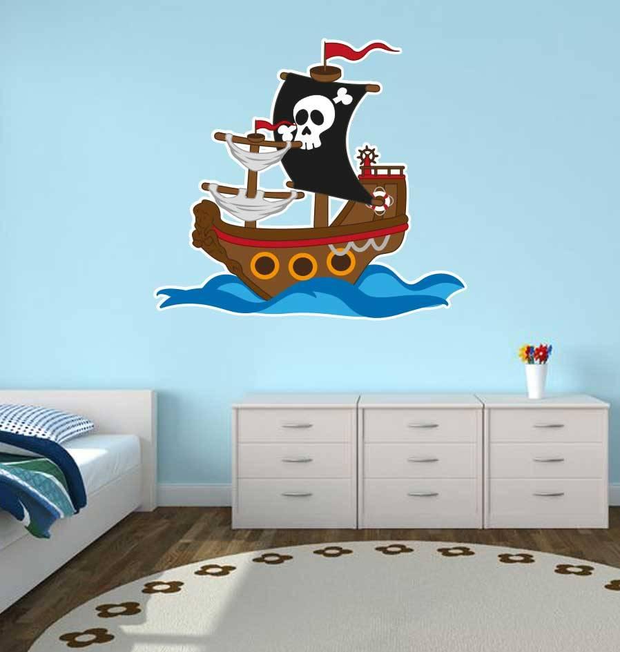 Pegatina habitación infantil - Barco pirata