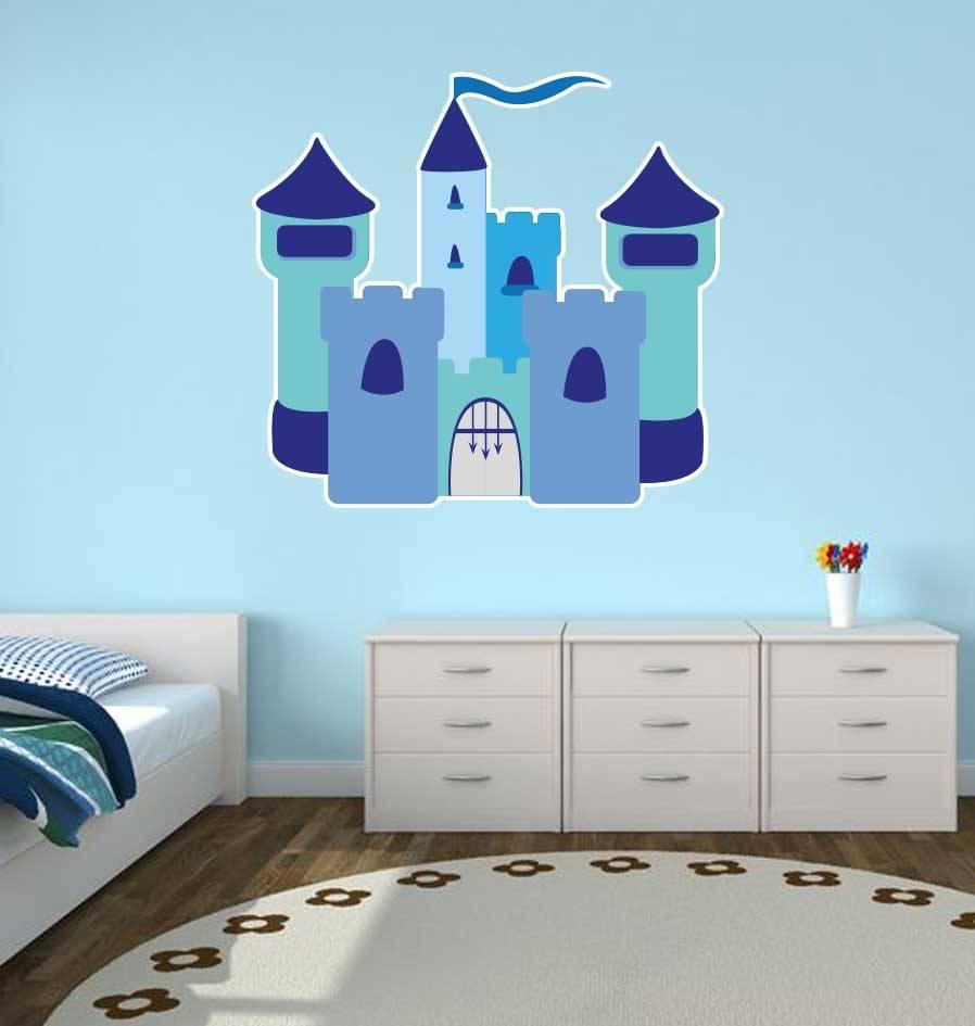 Pegatina habitaci n infantil castillo azul dr pegatina for Pegatinas habitacion infantil
