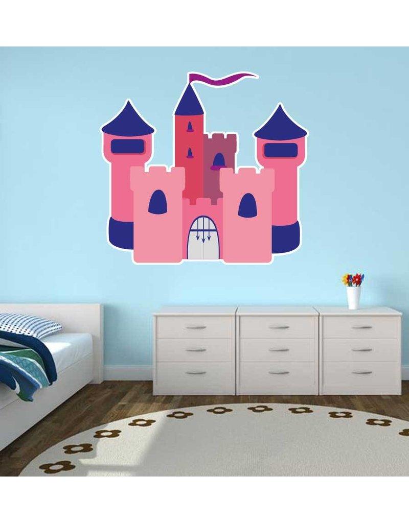 Autocollant chambre d'enfants - Château rose