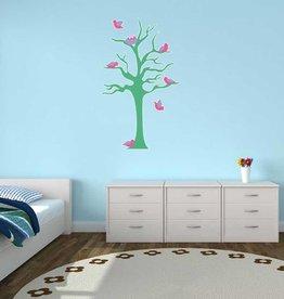 children's room Sticker - Tree & Little birds turkoois