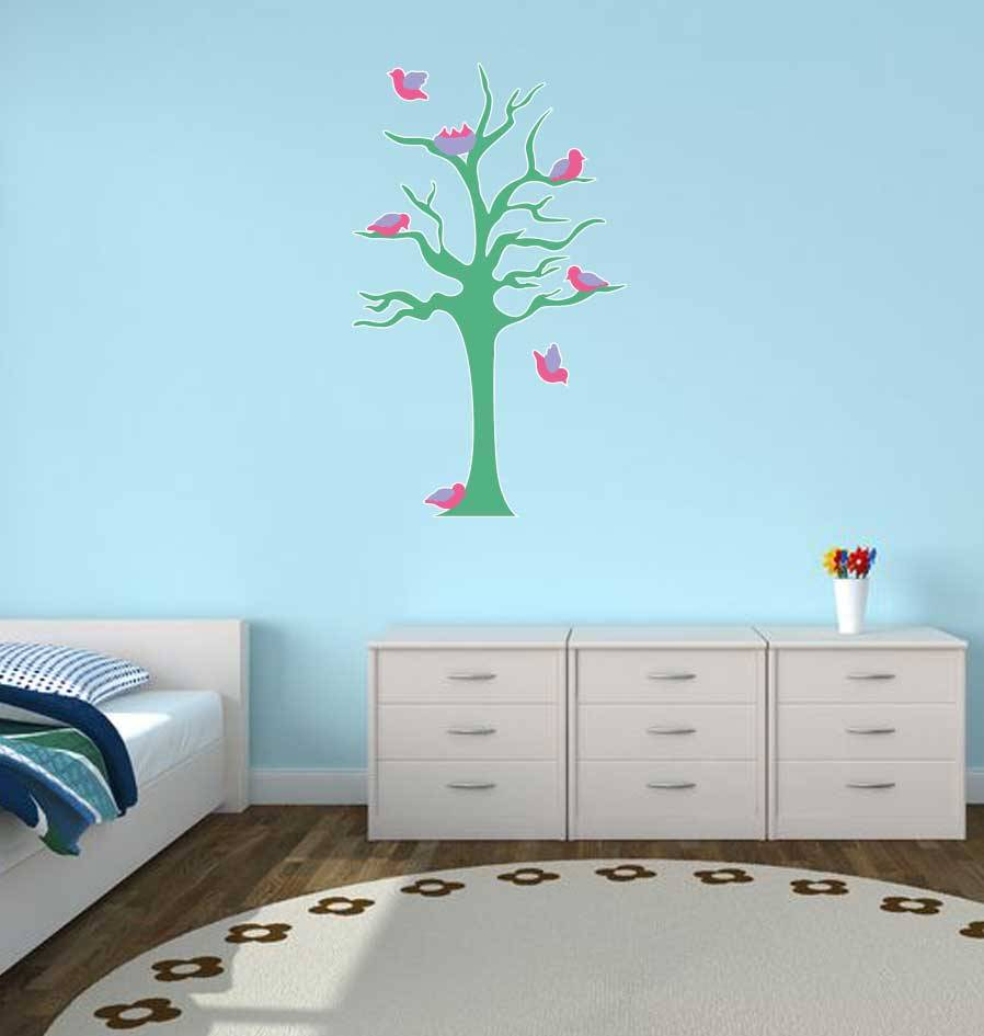 Pegatina habitación infantil - Árbol & Pajaritos turkoois