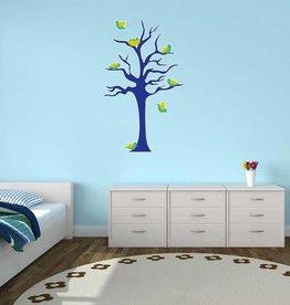Autocollant chambre d'enfants - Arbre & Oisillons bleu