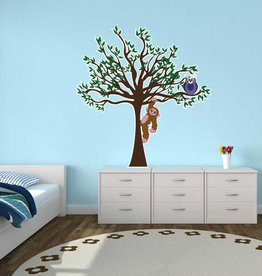 Kinderkamer Sticker - Boom, uil & aap