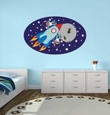 Autocollant chambre d'enfants - Petits singes dans l'espace
