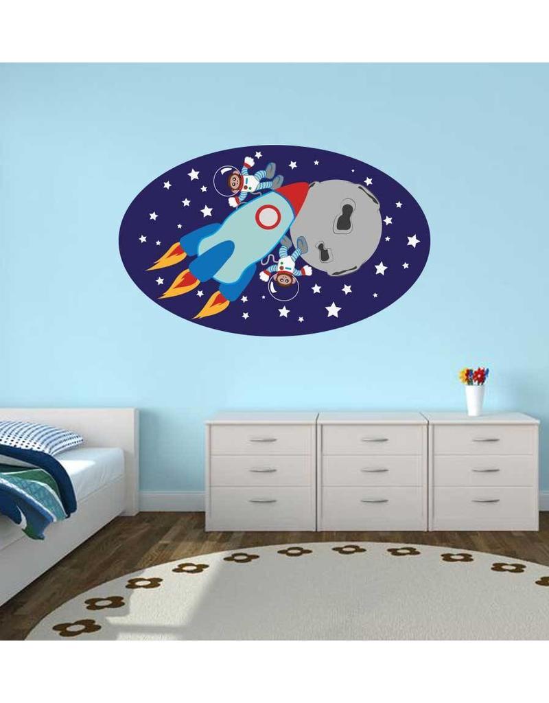 Kinderzimmer Sticker - Äffchen im Weltraum