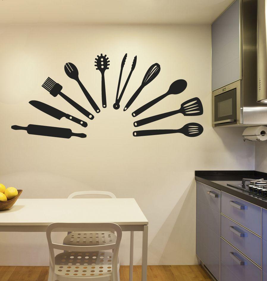 utensilios de cocina etiqueta de la pared