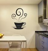 Etiqueta de la pared taza de té