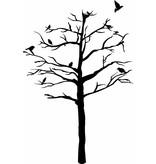 Etiqueta de la pared del árbol con los pájaros