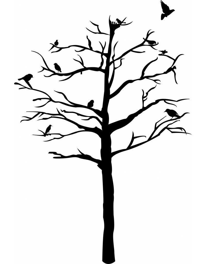 Muursticker Boom met vogels