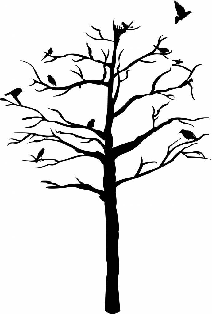 Autocollant Mural Arbre aux oiseaux