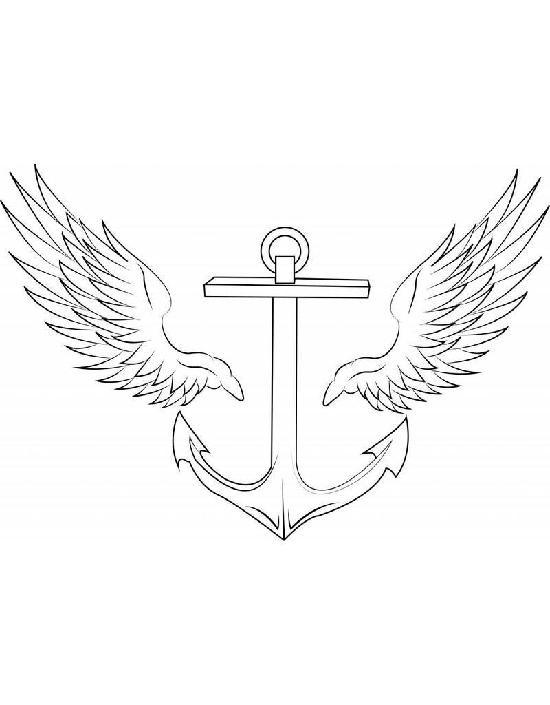 Etiqueta de la pared de anclaje con las alas
