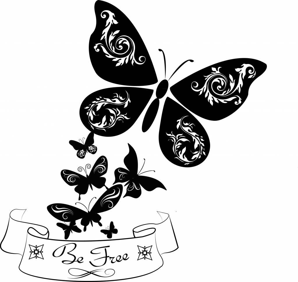 Etiqueta de la pared de las mariposas