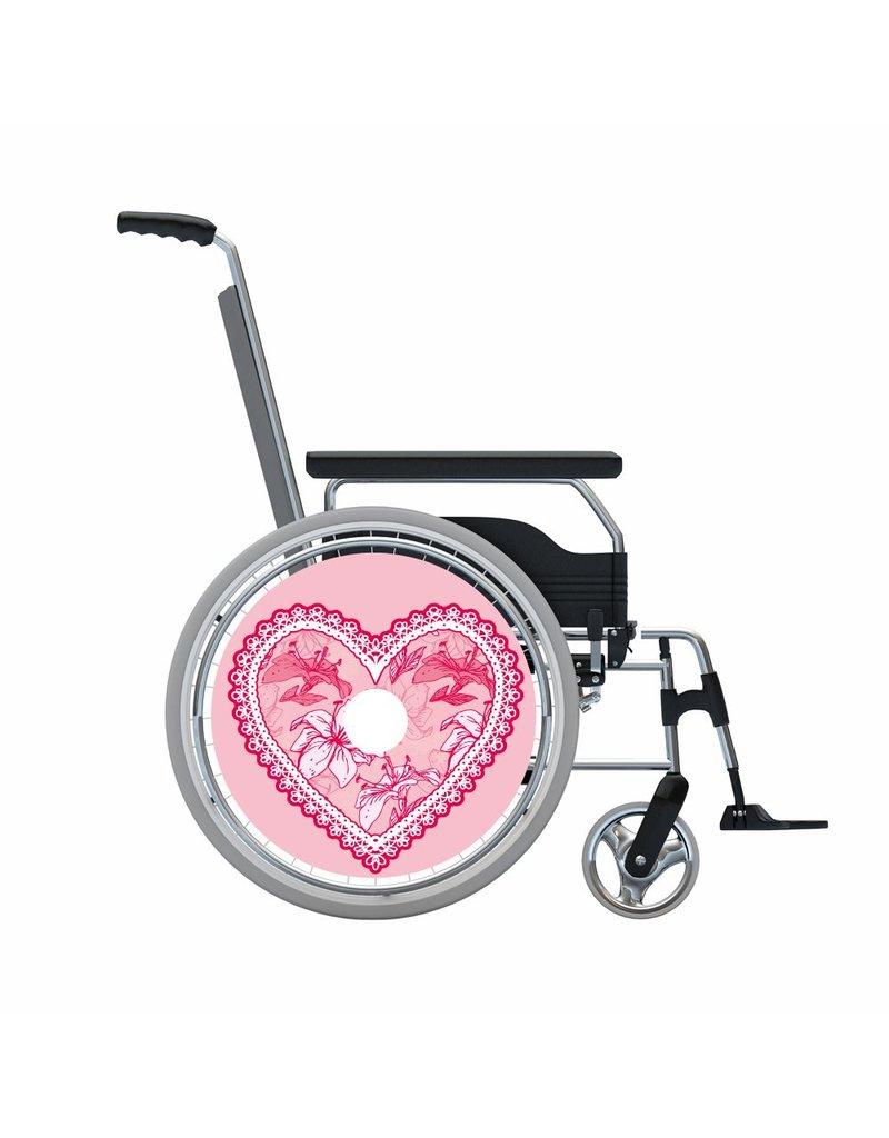 Pegatina protector de radios corazón irregular de color rosa