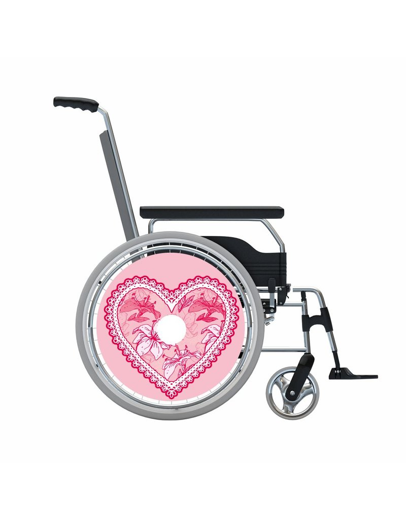 Spoke protector pink ragged heart