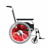 Autocollant protège-rayon fauteuil roulant fleur rouge