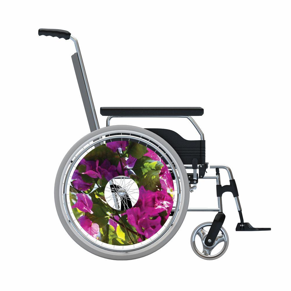 Autocollant protège-rayon fauteuil roulant fleur violet