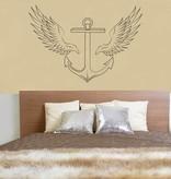 Wand-Aufkleber Anker mit Flügeln